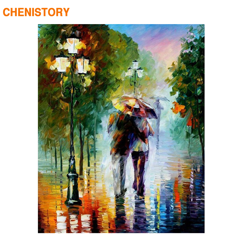 CHENISTORY Walking In The Rain Lover DIY Painting By Numbers Bilde Akryl Maleri På Lerret 40x50 For Kits Home Decoration