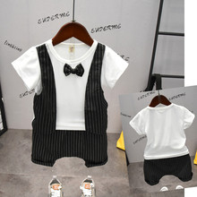 Summer Baby Clothes Boys Suits for Kids Wedding Birthday Dress Boy Gentleman Suit Short Sleeve + Shorts 2pcs Children Clothing цена 2017