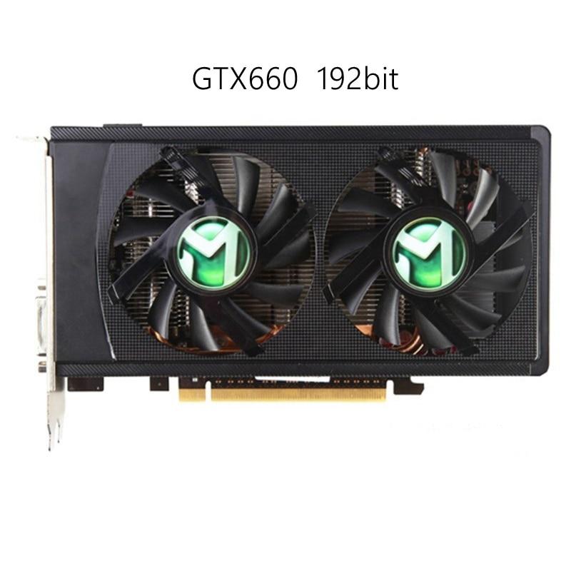 Carte graphique authentique d'occasion GTX660 2 GB GDDR5 192 Bit carte vidéo pour nNIVDIA gaming ordinateur carte de bureau plus forte que GTX750TI