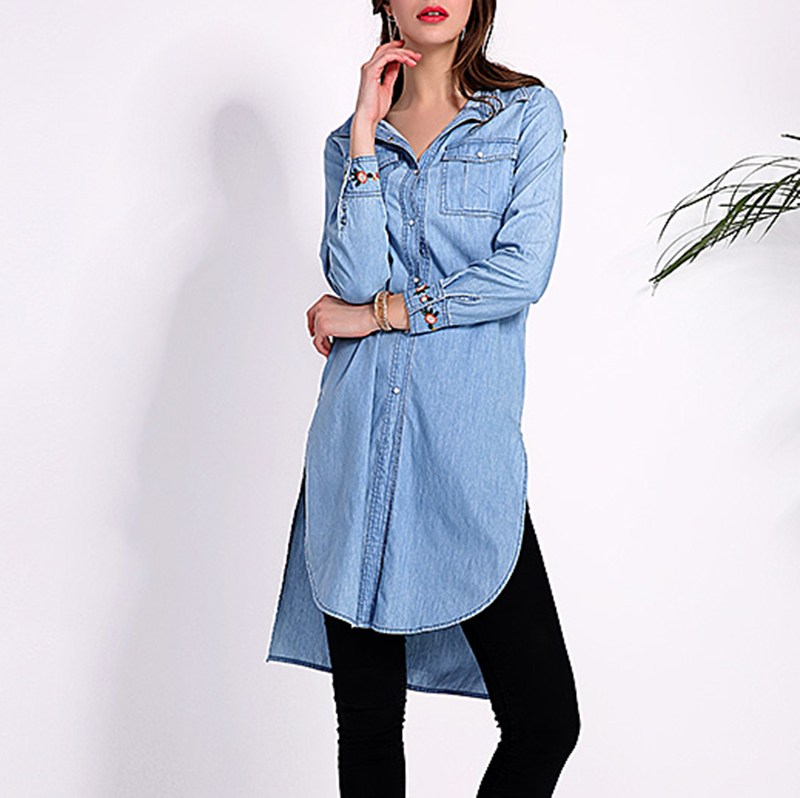 2018 Vintage Embroidery Women Dress Lapel Neck Long Sleeve Dresses Casual Loose Irregular Hem Tops Vestidos