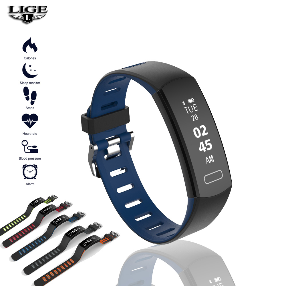2019 LIGE Smart Bracelet Men Sport Fitness Activity Heart Rate Tracker Blood Pressure Wristband Women Waterproof Band Pedometert