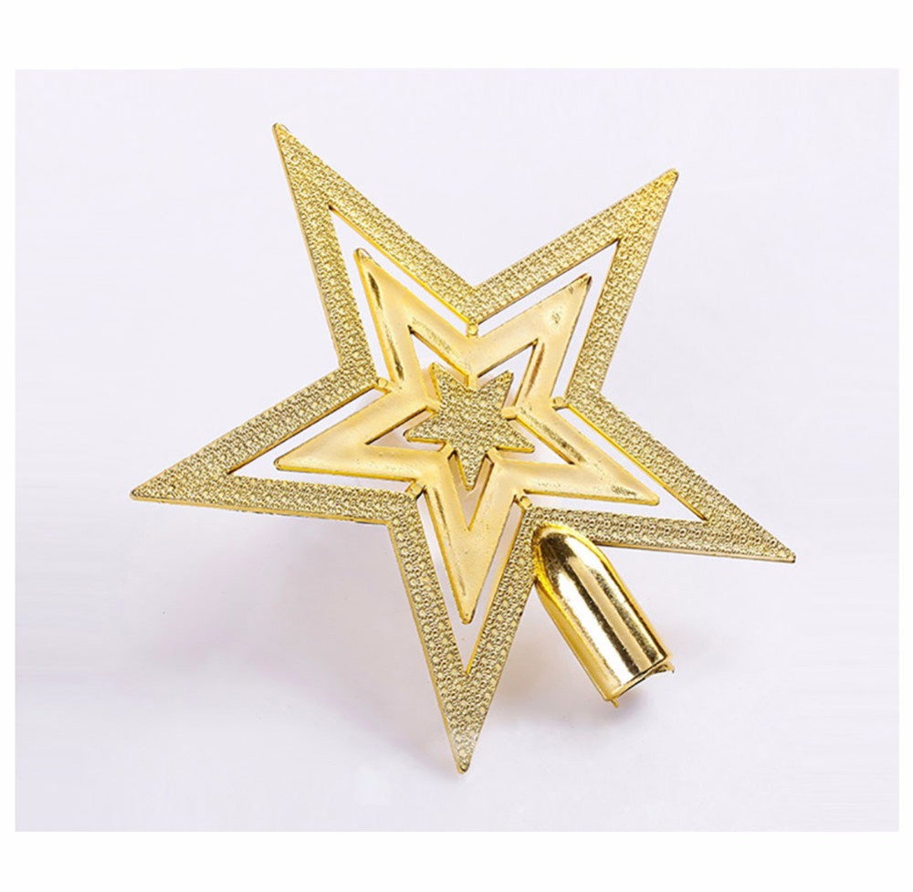 Gold star ornaments - Hollowed Out Gold Red Silver Five Pointed Star Christmas Tree Topper Home
