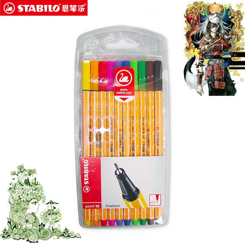 10/20Pcs/Set Geramy STABILO Swan 88 Resurrect 0.m Fiber Pen Stabilo Art Sketch Pen Paperlaria Art Marker For Animation Manga