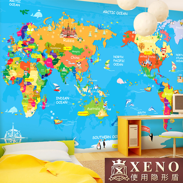 The world map child real wallpaper tv cartoon wallpaper mural the world map child real wallpaper tv cartoon wallpaper mural vintage home decor gumiabroncs Gallery