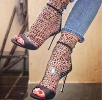 New Arrivals 2018 Black Mesh Net Women Boots High Heels Peep Toe Glitter Sequin Hollow Pumps Shoes Women Cut out Ankle Bootie