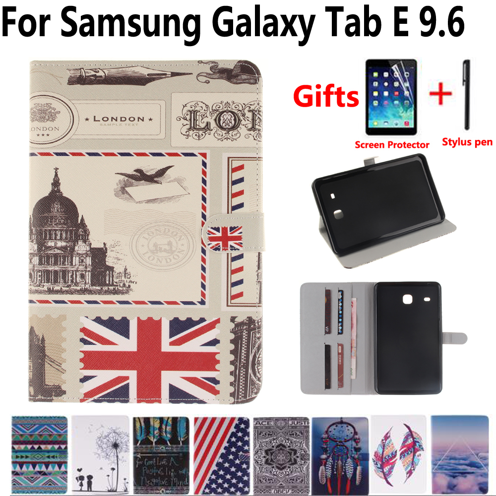 Tablet Shell Cover Case for Samsung Galaxy Tab E 9.6 T560 T561 560 Flag Flower Magnet Smart Case + Screen Protector Film + Pen top quality smart pu leather cover for samsung galaxy tab e 9 6 t560 t561 tablet case tablet slim protective shell pen
