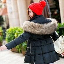 2016 Новое пальто куртка большой воротник осенние и зимние женщины в долгосрочной разделе был тонкий пуховик хлопка ярдов большой