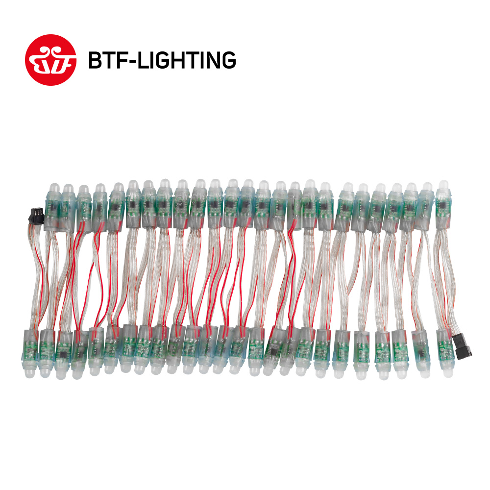 50pcs/100pcs 12mm <font><b>WS2811</b></font> IC RGB <font><b>LED</b></font> <font><b>Pixels</b></font> <font><b>Module</b></font> Light Black/Green/RWB Wire cable IP68 DC5V/DC12V Holidays/Chrismas/ Festival image