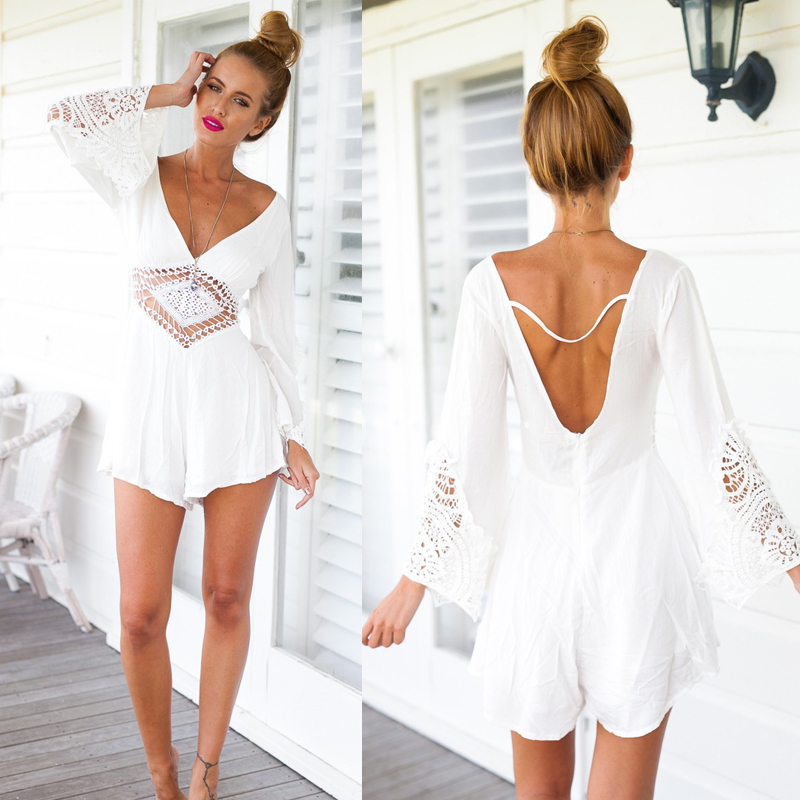 White Short Jumpsuits Romper