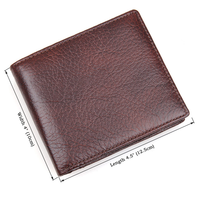 Everdoss Unisex Mini Genuine Leather Zipper Wallet Coin Purse Brown