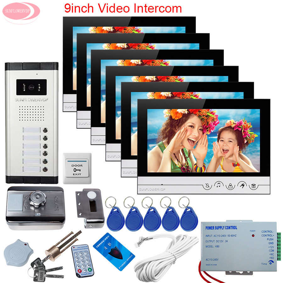 For 6 Apartments Electronic Doorman With Camera 9inch Video Door Phone Intercom System + Rfid Unlock Electronic Lock System Unit