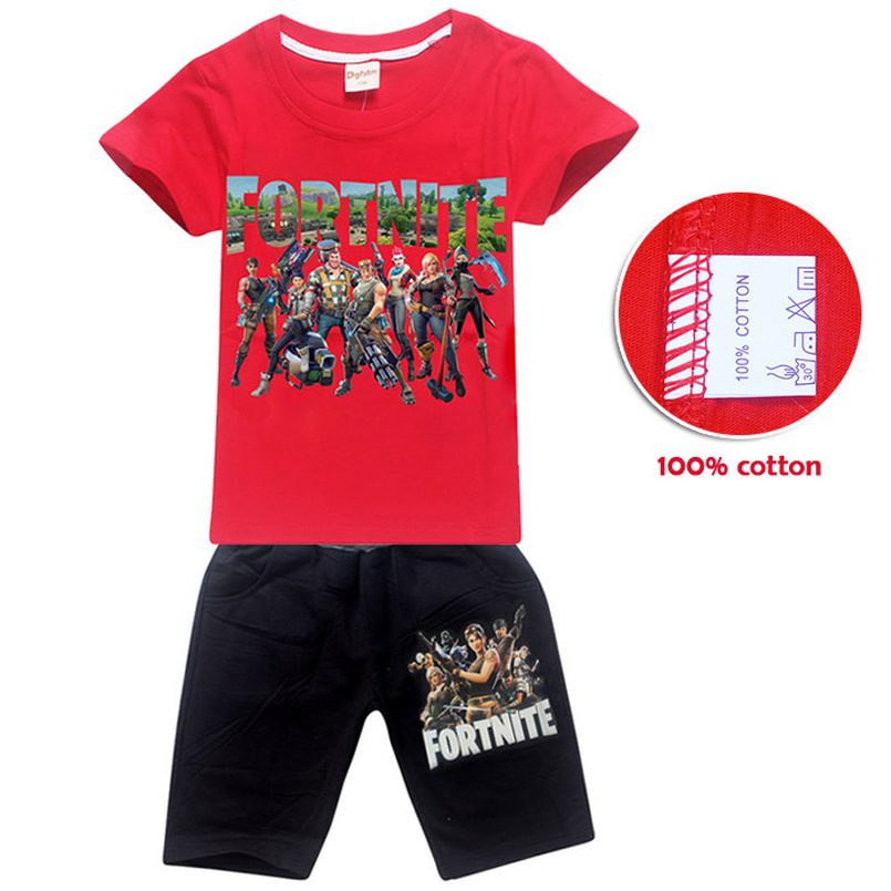 Hot Cotton Shirt Girl Fortnite T-shirt Girl Baby Boy Short Sleeve Fortite Game Figure Print Set Summer Kids Set