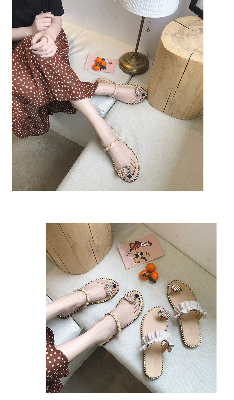 HTB1MOhIbQ9E3KVjSZFGq6A19XXao Women Sandals Flip Flops Slippers Flats Shoes String Bead Summer Fashion Wedges Woman Slides Pineapple Lady Casual Female