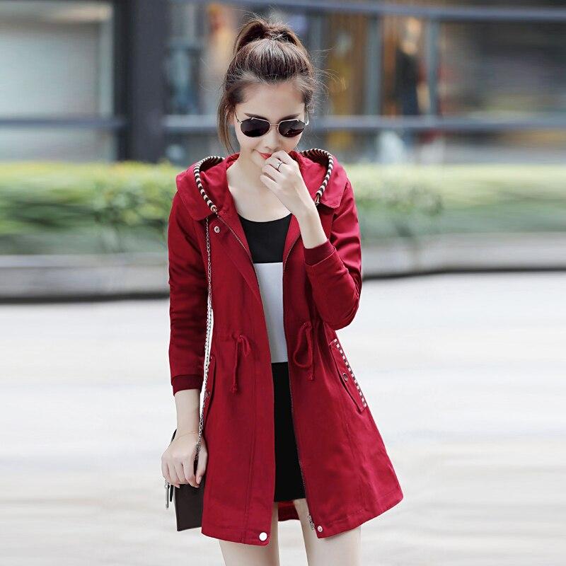 Mujeres Gran Mujer Odfvebx 2019 Las Slim Ropa Red armygreen Wine Medio Abrigo Chaqueta Capucha Primavera Otoño red Tamaño Con Larga Marca De khaki Nueva Sección Oawa4q
