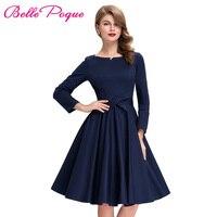 1950s 60s Vintage Dresses Elegant Midi Women Dress Long Sleeve Round Neckline Female Plus Size Retro