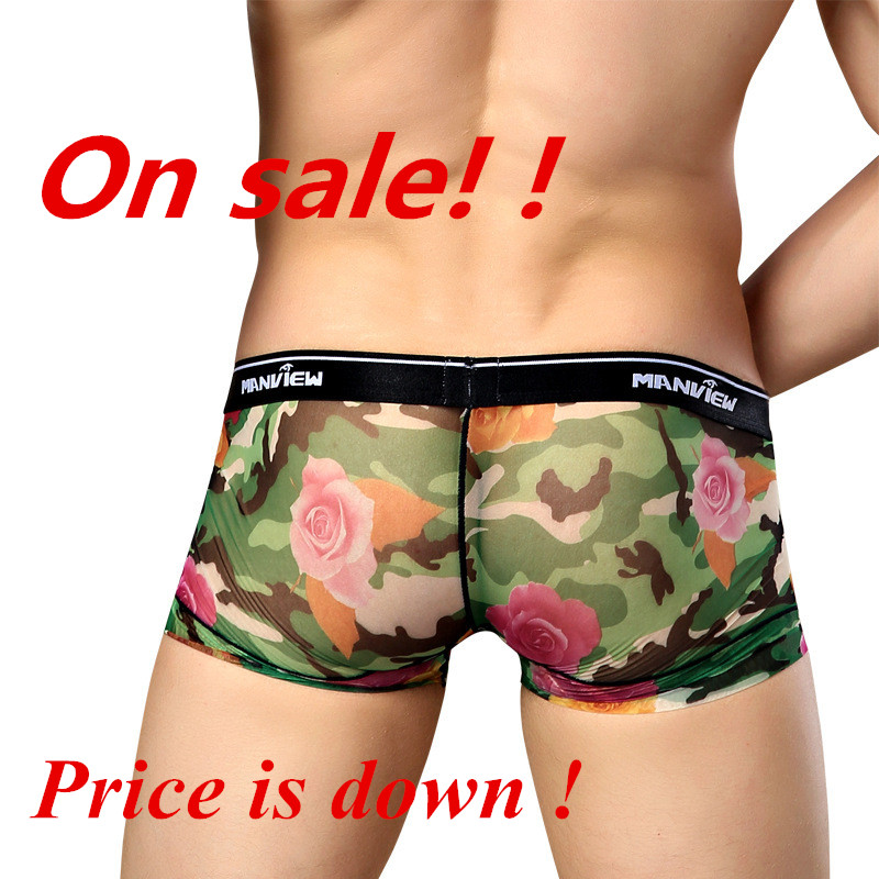 Manview Sexy Underwear Pants Shorts Printing Mesh Rose Slim MGPJ