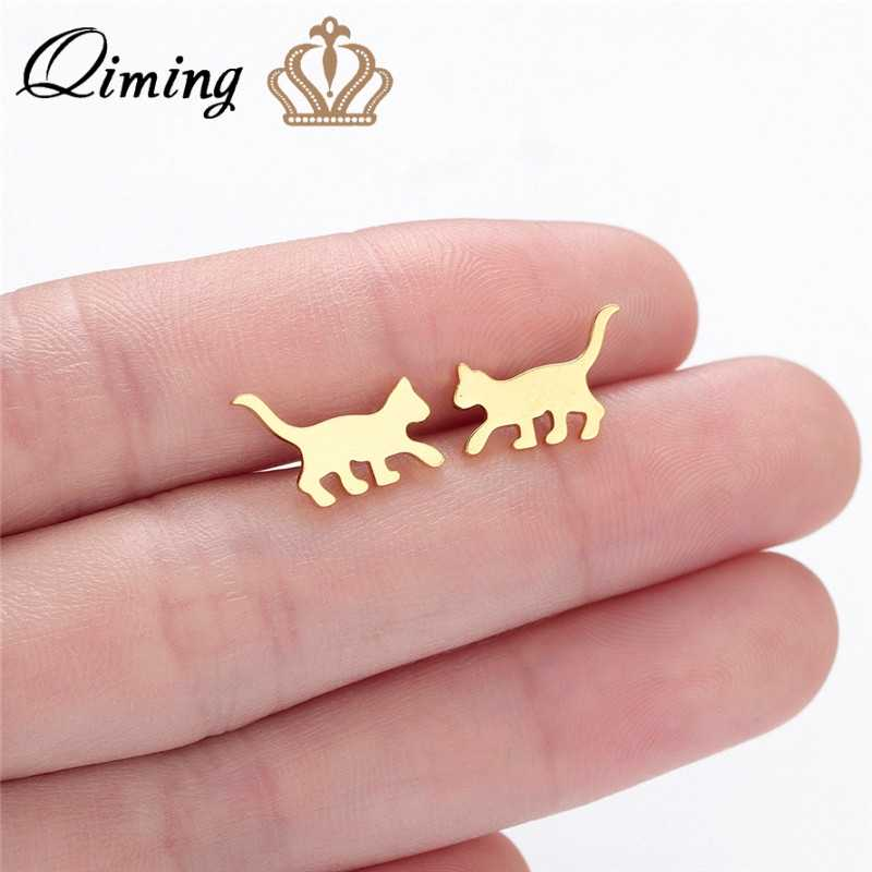 QIMING Tiny Small Cat Earrings Women Kitten Animal Studs Earring For Kids Girls Teen Student Children Gift Kitty Pet Jewelry