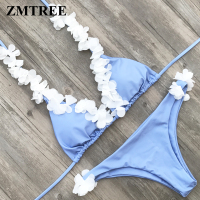 ZMTREE Floral Swimwear Women Halter Swimsuit Handmade Flower Bikini Set Bandage Bathing Suit 2018 Bikini Sexy