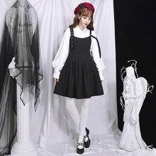 d1379cfddde7cd Vrouwen Japanse Duisternis Hard Meisje Zwarte Mouwloze Jurk Preppy Vintage  Stijlvolle Mooie Zoete Geplooide Jurken voor Jonge .