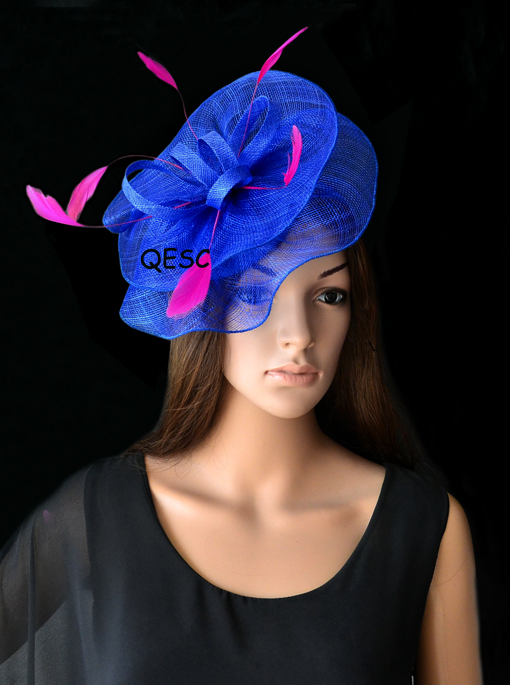 NEW Royal blue Hot Pink Feather sinamay fascinator hat for Wedding ... 6a4b9e528f5