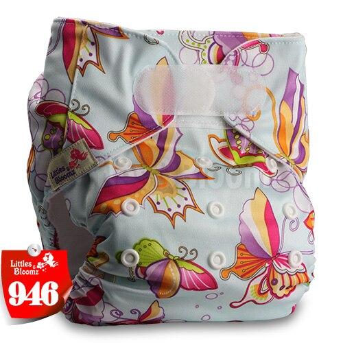 [Littles&Bloomz] Один размер многоразовые тканевые подгузники Моющиеся Водонепроницаемые Детские карманные подгузники стандартная застежка на липучке - Цвет: 946