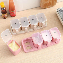1Set Seasoning Box Condiment Storage Container Rack Spice Jar 4 Cells With Spoon 30*11*8cm