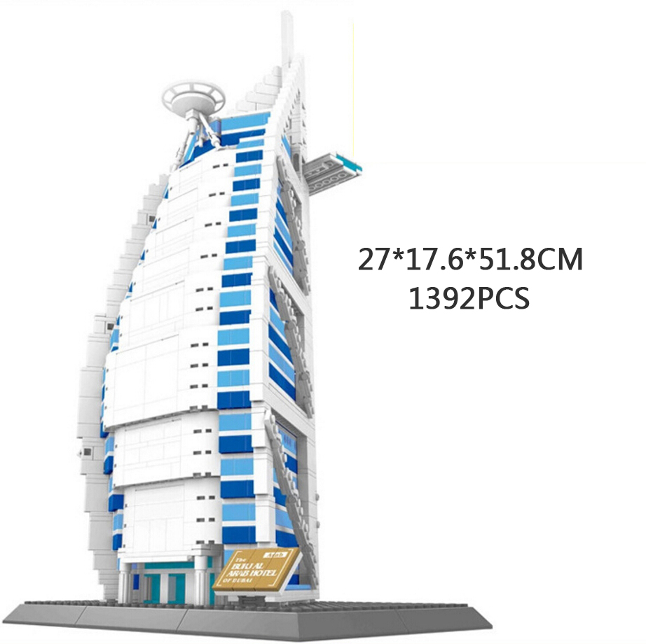World famous architecture building block Burj Al Arab Dubai United Arab Emirates model brick educational toy collection for gift loz mini diamond block world famous architecture financial center swfc shangha china city nanoblock model brick educational toys