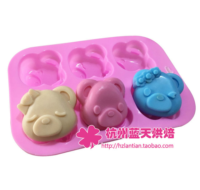 Silicone 6C Pig Head Cute Pig Cake Chocolate Soap Pudding Jelly