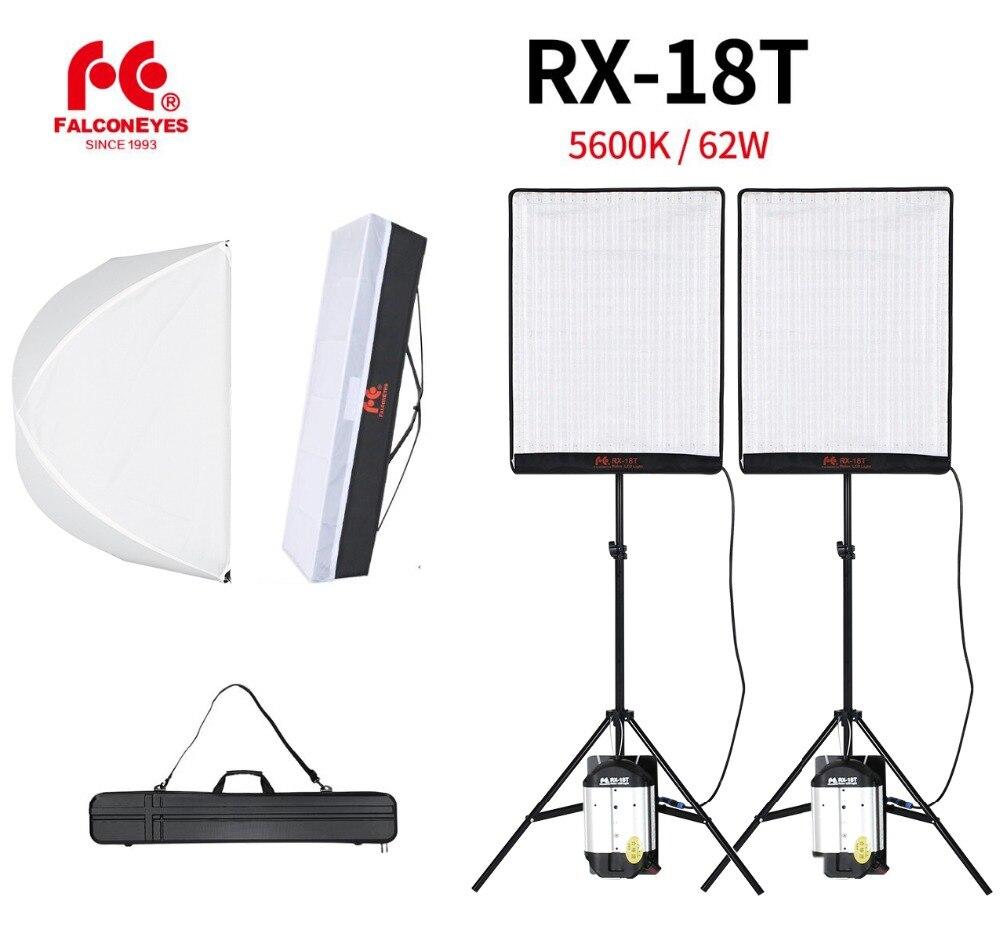 Falcon Eyes 2 pcs RX-18T 62 w Flexible LED Vidéo Lumière 504 pcs Enroulable Tissu Lampe avec Diffuseur + En Plein Air sac de transport + Lumière Stand