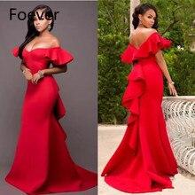 Великолепное красное платье для выпускного вечера с открытыми плечами, атласное вечернее платье с открытой спиной и рюшами в стиле русалки, вечернее платье с коротким шлейфом в саудовской аравии