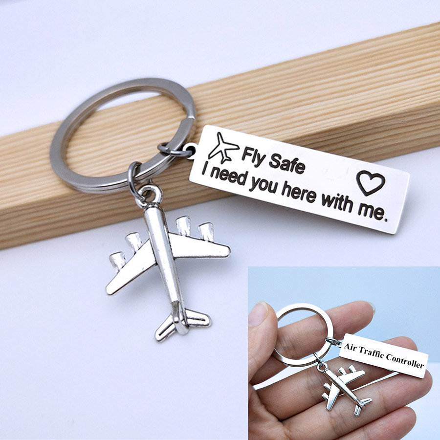 Engraved Air Traffic Controller Keyring Drive Safe Fly Safe Keychain Couples Boyfriend Men Pilot Flight Attendant Gift Key Chain