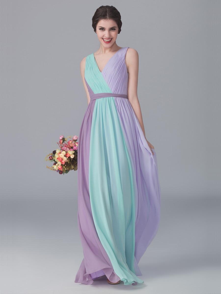 Cheap 2016 Lilac Lavender Mine Long Bridesmaid Dresses for Wedding ...