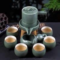 Semi-automatische Thee Set Stenen Molen Theepot Huishouden Eenvoudige Lui Keramische kungfu Tea Cup Set