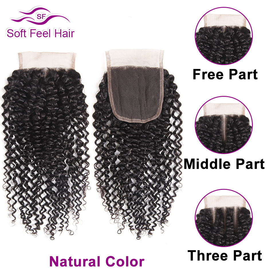 Image 2 - Soft Feel Hair Brazilian Kinky Curly Closure With Baby Hair Black Burgundy Ombre Human Hair Lace Closure 4x4 1B/30 Remy Closure-in Closures from Hair Extensions & Wigs