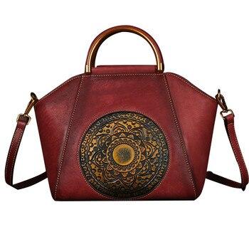Nesitu High Quality Vintage Brown Red Grey Genuine Leather Women Handbag for 9.7'' ipad Female Shoulder Messenger Bag Tote M1156