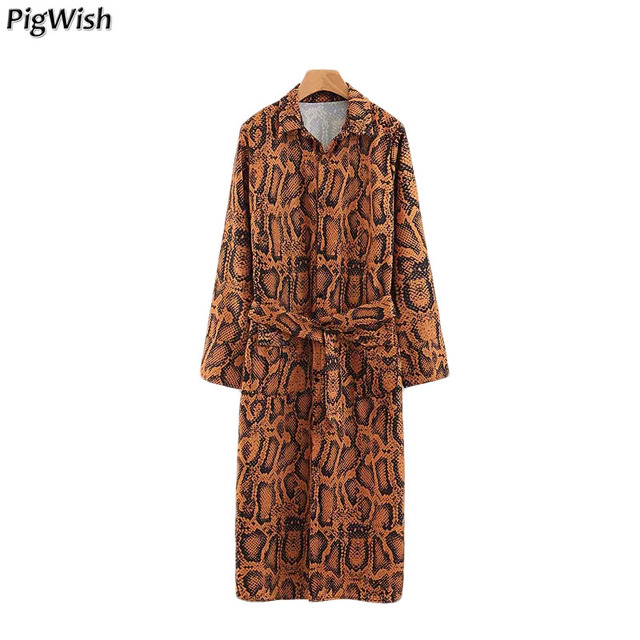 0f1f0968054988 NEW 2018 Autumn Women's Leopard Print Long Coat Frenulum Kimono Cardigan  Casual Snake Skin Blouse Shirt Long Sleeve Tops Tunic