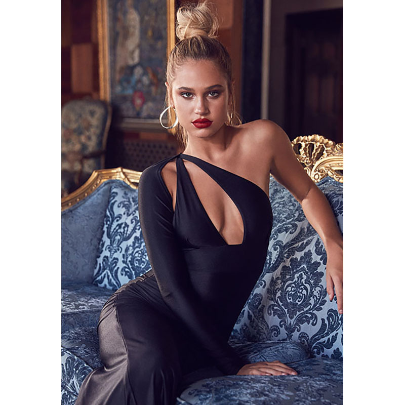 Autumn Winter Style Women Bodycon Dresses Sexy 2018 New Arrival Sexy Black One Shoulder Long Sleeve Backless Maxi Bandage Dress club style one shoulder black long beaded sleeve dress for women