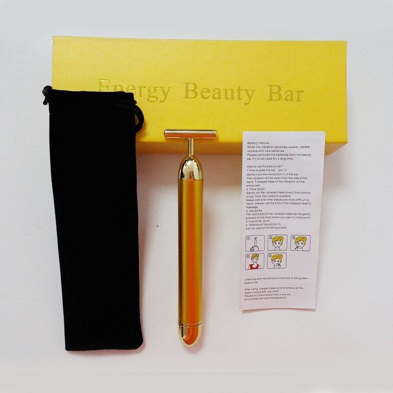 24K Gold Face Skin Massage Roller Body Firming Massager Electric Energy Beauty Bar