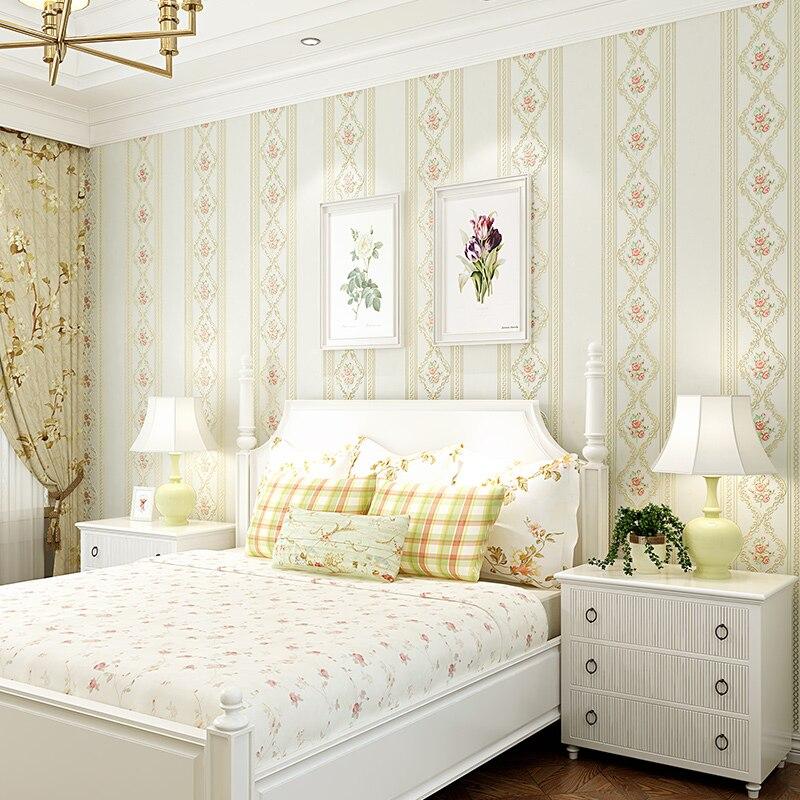 US $23.64 31% OFF|3D vlies Gestreiften Damast Tapete Romantische Blumen  Europäischen Stil Schlafzimmer Wohnzimmer Hintergrund Wand Tapete Rolle ...