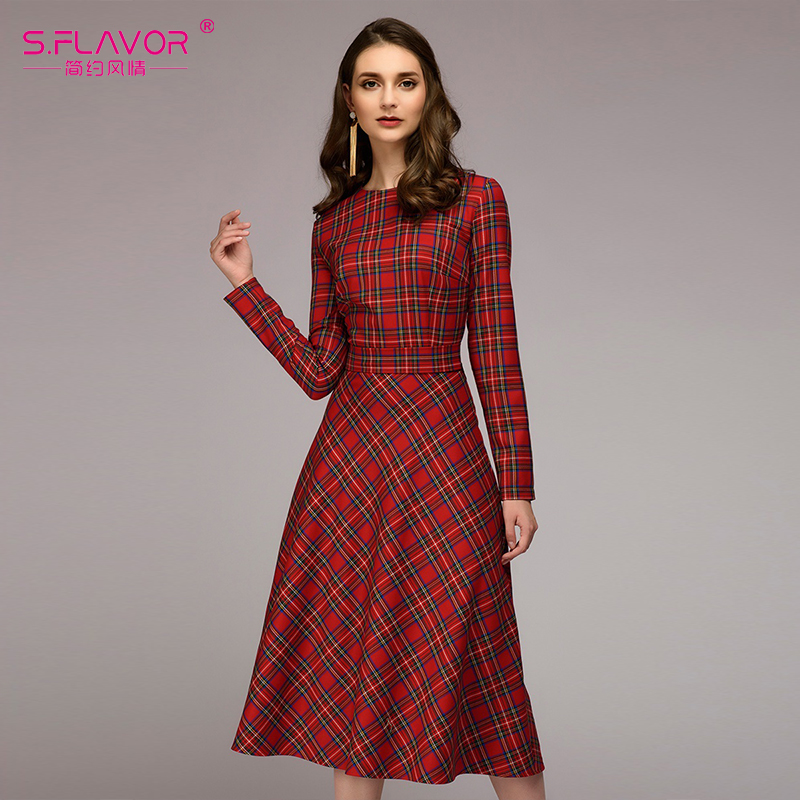 S.FLAVOR Women red plaid loose dress 2018 hot sale O neck ... Red Dresses For Women 2018