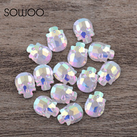 AB Crystal Rainbow Color Skull Shape High Quality Hot Fix Rhinestones Use For High End Clothing