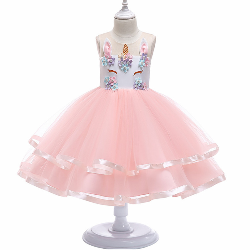 Flower Girls Unicorn Tutu Dress Pastel Rainbow for Wedding party Kids Dresses for Toddler Girl  Fashion Christmas Clothing