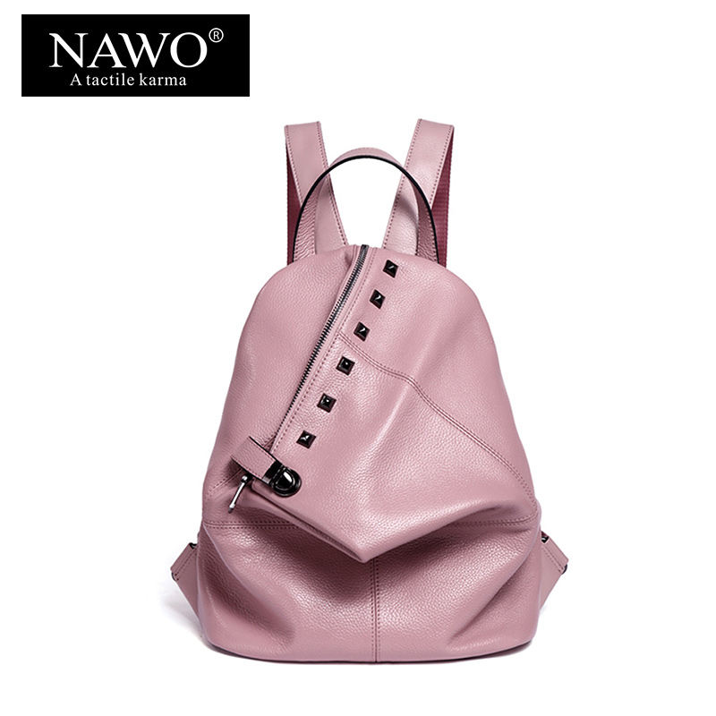 NAWO Fashion Genuine Leather Backpack Rivet Women Bags Preppy Style Backpack Girls School Bags Zipper Large Women's BackPack sac nawo fashion genuine leather backpack rivet women bags preppy style backpack girls school bags zipper large women s backpack sac