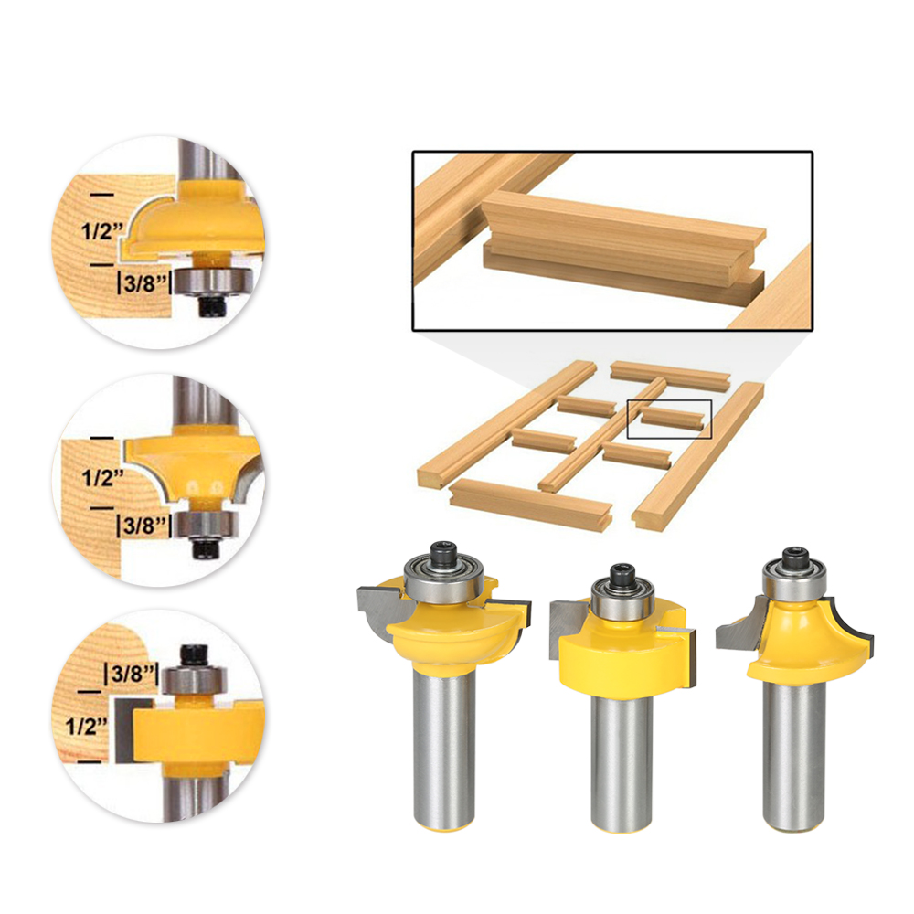 3PCS Glass Door Router Bit Kitchen Cabinet Doors Round Over Bead 1/2