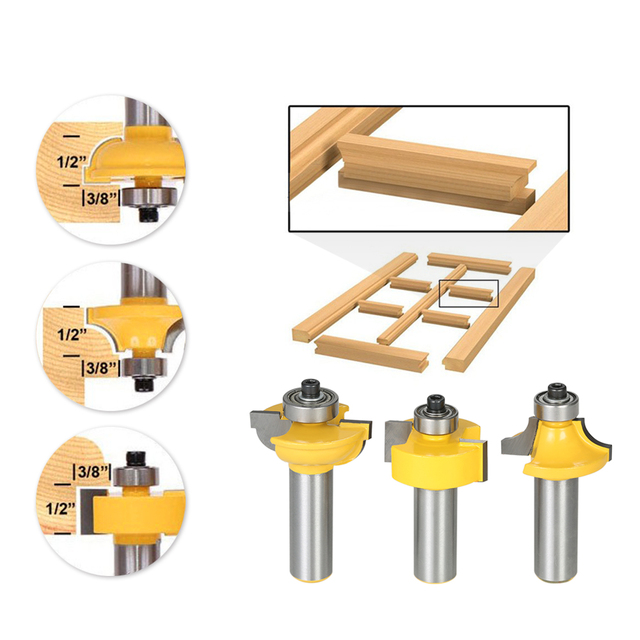 Awesome Us 19 13 48 Off 3Pcs Glass Door Router Bit Kitchen Cabinet Doors Round Over Bead 1 2 Shank 1 2 Blade Wood Cutter For Wood Drilling Woodworking In Download Free Architecture Designs Embacsunscenecom