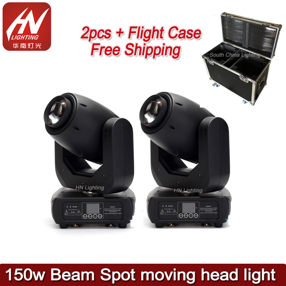 2pcs With Flycase 150 Watt Gobo Stage Light DMX 150W Beam Spot Led Moving Head Light