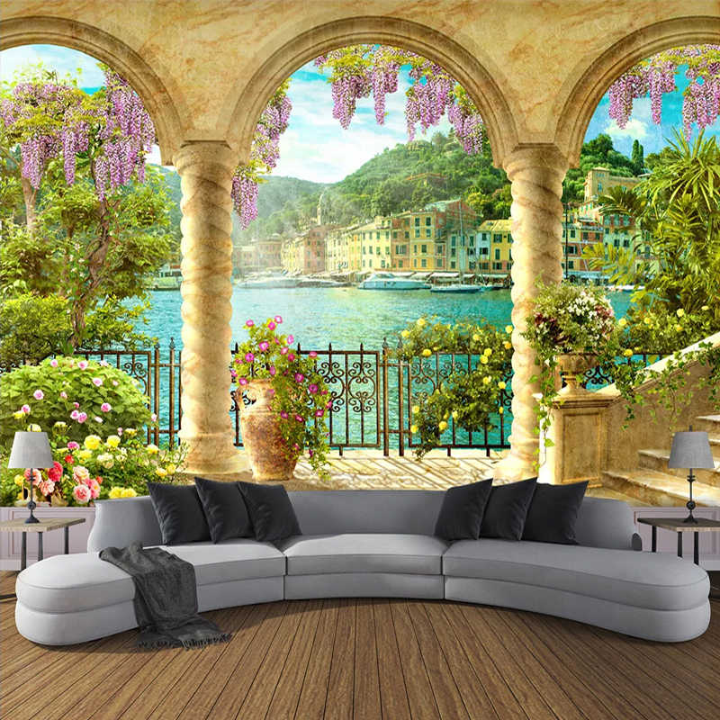 Custom Wallpaper Murals 3D Stereo Space Arch Balcony Landscape Wall Painting Living Room Bedroom Backdrop Wall Decoration Mural