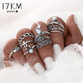 17KM 10pcs/Set Gold Color Flower Midi Ring Sets for Women Silver Color Boho Beach Vintage Turkish Punk Elephant Knuckle Ring