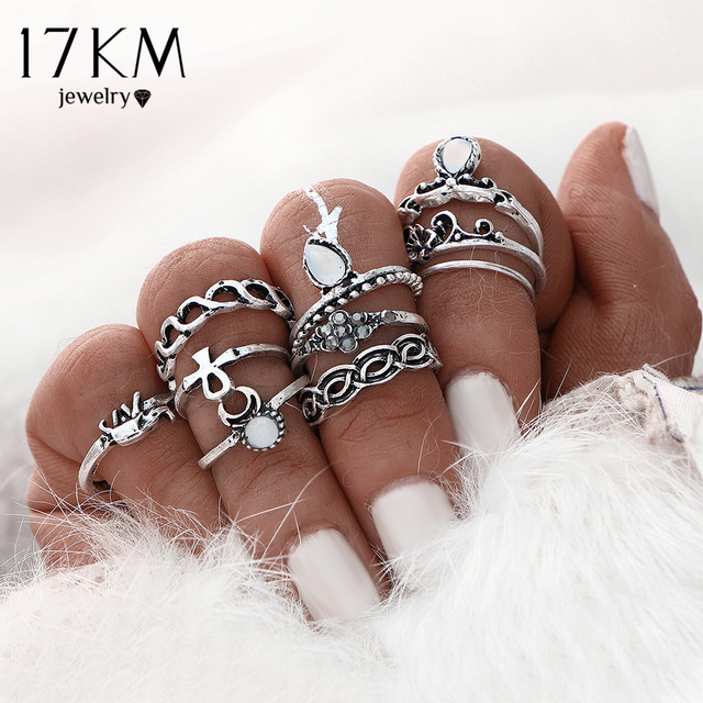 17KM 10pcs/Set Gold Color Flower Midi Ring Sets for Women Silver Color Boho Beac