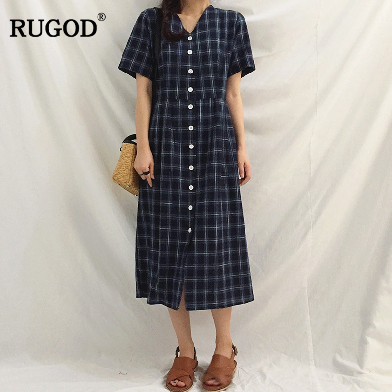 RUGOD 2018 New Summer Preppy Style Blue and green Vintage plaid Single Sweet Button V-neck Elegant Loose women long chic dress